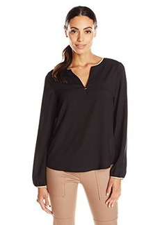 Calvin Klein Women's Blouse with Faux Leather Piping, Black, Large