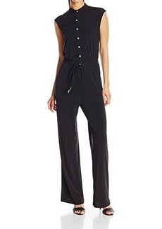 Calvin Klein Women's Button Down Jumpsuit, Black, 14