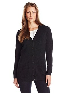 Calvin Klein Women's Button Front Cardigan, Black, X-Large