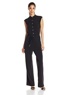 Calvin Klein Women's Button Down Jumpsuit, Black, 10