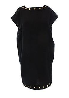 Calvin Klein Women's Cap Sleeve Dress with Hardware Detail, Black, 12