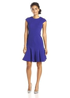 Calvin Klein Women's Cap Sleeve Fit and Flare Dress, Byzantine, 4
