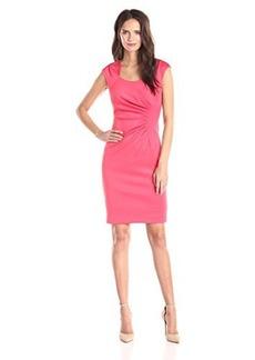 Calvin Klein Women's Cap Sleeve Horse Shoe Neck Sheath Dress, Coral, 4