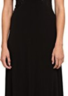Calvin Klein Women's Cap Sleeve Illusion Gown, Black, 4
