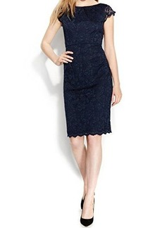 Calvin Klein Women's Cap Sleeve Lace Sheath, Indigo, 8