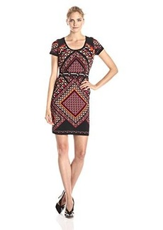 Calvin Klein Women's Cap Sleeve Sheath Dress, Red/Multi, 14