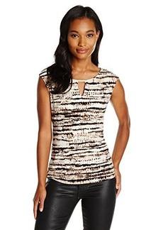 Calvin Klein Women's Cap Sleeve with Hardware, Blush Multi CKSP, Large