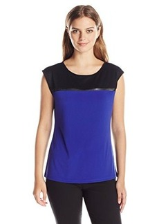 Calvin Klein Women's Cap Sleeve with Mesh Inset, Byzantine, X-Large