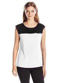 Calvin Klein Women's Cap Sleeve with Mesh Inset, Soft White, Medium