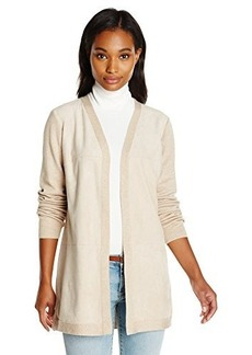 Calvin Klein Women's Cardi with Suede Front, Latte, Medium