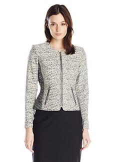 Calvin Klein Women's Career Jacket, Black/Cream, 6