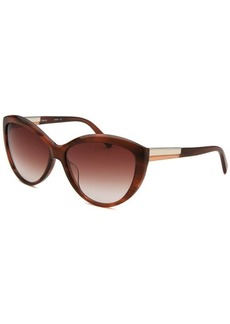 Calvin Klein Women's Cat Eye Mahogany Horn Sunglasses
