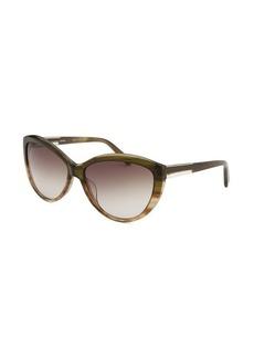 Calvin Klein Women's Cat Eye Olive Horn Sunglasses