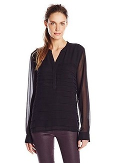 Calvin Klein Women's Chiffon Top with Pleats