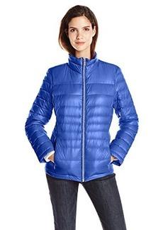 Calvin Klein Women's CK Classic Short Packable Jacket, Pacific Blue, Large