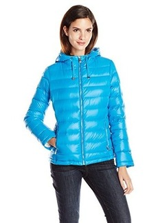 Calvin Klein Women's CK Favorite Hooded Packable Jacket, Capri Blue, X-Large