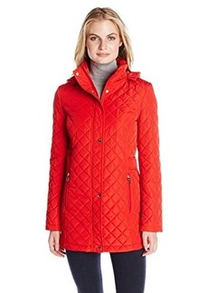 Calvin Klein Women's Classic Quilted Jacket with Side Tabs, Fire, Small