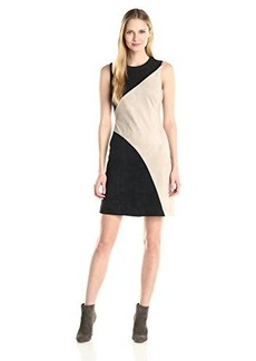Calvin Klein Women's Color Block Suede Dress with A-Line, Khaki/Black, 16