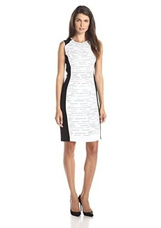 Calvin Klein Women's Colorblock Dress with Stones, Soft White, 16