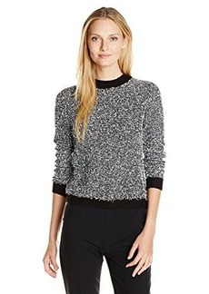 Calvin Klein Women's Contrast Eyelash Crew Neck, Black/Soft White, X-Large