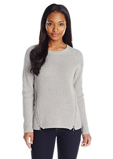 Calvin Klein Women's Crew Neck with Side Zips, Heather Granite, X-Large