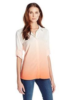 Calvin Klein Women's Dip Dye Roll Sleeve, Tart, Small