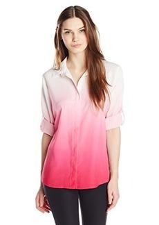 Calvin Klein Women's Dip Dye Roll Sleeve, Hibiscus, X-Large