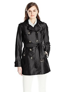 Calvin Klein Women's Double Breasted Polished Satin Trench Coat, Black, Large