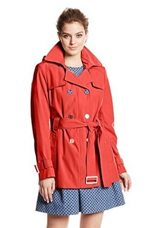 Calvin Klein Women's Double-Breasted Trench Coat with Hideaway Hood