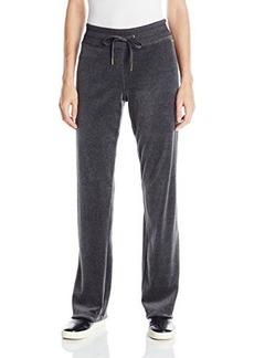 Calvin Klein Women's Drawstring Velour Pant, Heather Charcoal, Medium