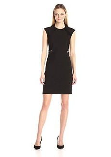 Calvin Klein Women's Dress with Faux Suede Side Panel, Black, 8