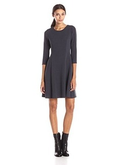 Calvin Klein Women's Elbow Sleeve Fit and Flare Dress, Charcoal, 10