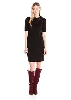 Calvin Klein Women's Elbow Sleeve Mid Length Sweater Dress, Black, Large