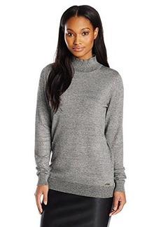 Calvin Klein Women's Essential Marled Mock Neck Sweater, Black/Soft White Multi Black/White, X-Small