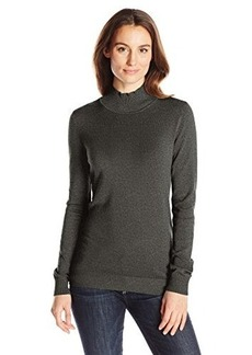 Calvin Klein Women's Essential Mock Neck Sweater, Heather Charcoal, X-Large