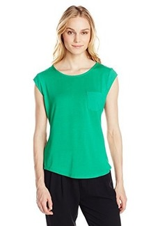Calvin Klein Women's One Pocket Tee, Grass, Medium