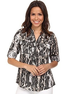 Calvin Klein Women's Essential Printed Linen Roll Sleeve Top, Black/Latte Combo, Small