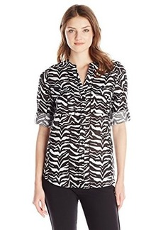 Calvin Klein Women's Essential Printed Linen Roll Sleeve Top, Zebra/Black/White, X-Small