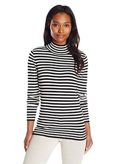 Calvin Klein Women's Essential Striped Mock Neck Sweater, Black/White C, Medium