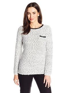 Calvin Klein Women's Eyelash Crew Neck Sweater, Soft White/Black Combo, Small