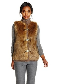 Calvin Klein Women's Faux Fur Sweater Vest, Heather Dark Taupe, X-Large