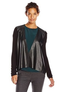Calvin Klein Women's Faux-Leather Open-Front Sweater