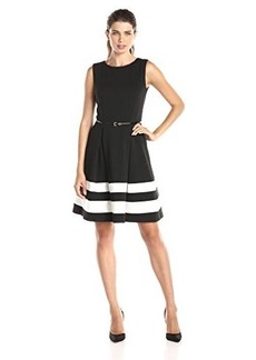 Calvin Klein Women's Fit and Flare Dress with Belted Waist, Black/Ivory, 10