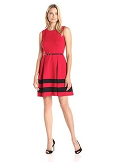 Calvin Klein Women's Fit and Flare Dress with Belted Waist, Red/Black, 12