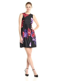 Calvin Klein Women's Floral Print Fit and Flare Dress, Red/Multi, 16