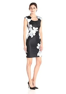 Calvin Klein Women's Floral Print Side Ruched Dress, Black/Multi, 12