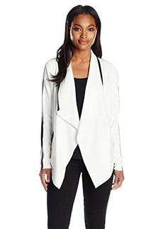 Calvin Klein Women's Flyaway Jacket with Faux Leather Tipping, Soft White, Large