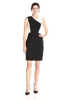 Calvin Klein Women's Halter Color Block Sheath Dress, Black/Cream, 8