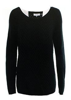 Calvin Klein Women's Honey Comb Sweater, Black, X-Large