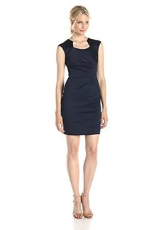 Calvin Klein Women's Horseshoe Neck Sheath Dress, Twilight, 10